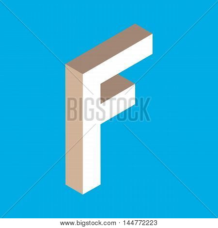 3d isometric letter f. typography for headlines, posters etc.