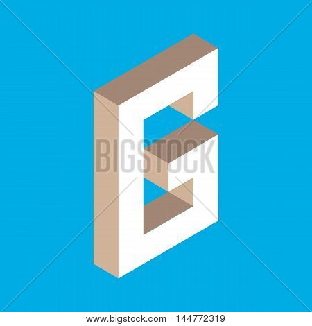 3d isometric letter g. typography for headlines, posters etc.