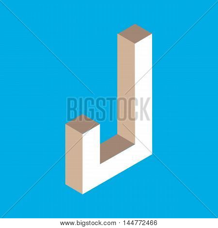 3d isometric letter j. typography for headlines, posters etc.