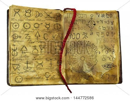 Alchemic book with mystic and fantasy symbols on shabby pages isolated. Halloween concept, black magic ritual with occult and esoteric signs