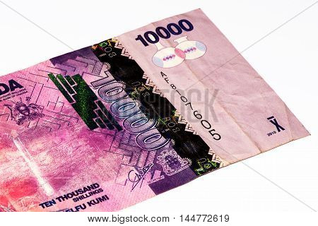 10000 Ugandan shillings bank note. Ugandan shilling is the national currency of Uganda
