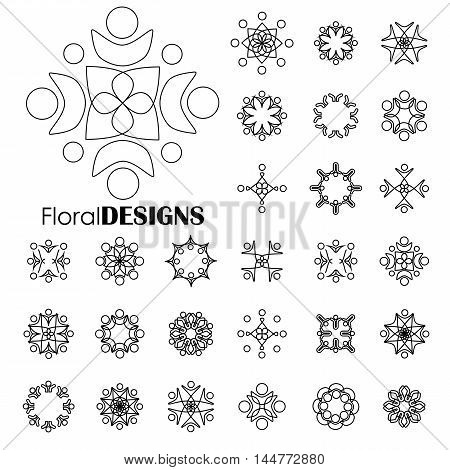 Collection Of Floral Elements -  Vector Graphic Art