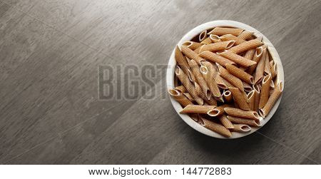 Organic whole wheat penne rigate.
