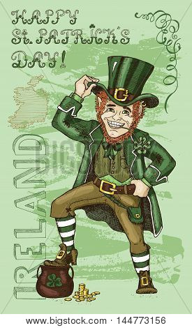 St. Patricks Day card with Leprechaun and lettering Ireland on textured background. Colorful doodle vector illustration with hand drawn elements of smiling dwarf and text vertical.