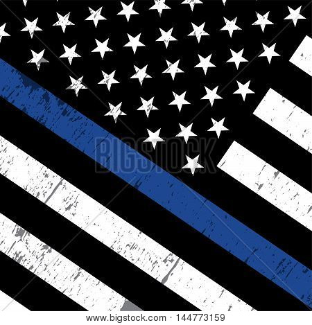 An angled American flag icon symbolic of support for law enforcement. Vector EPS 10 available.