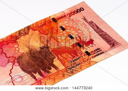 20000 Ugandan shillings bank note. Ugandan shilling is the national currency of Uganda