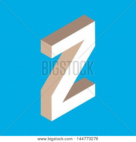3d isometric letter z. typography for headlines, posters etc.