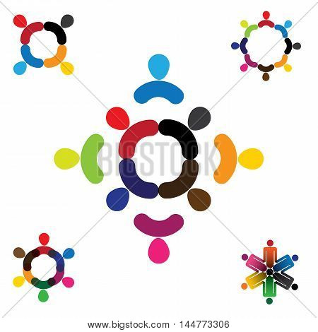 Abstract People Vector Logo Design Collection Set.