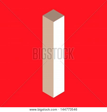 3d isometric letter i. typography for headlines, posters etc.