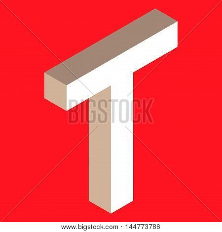 3d isometric letter t. typography for headlines, posters etc.