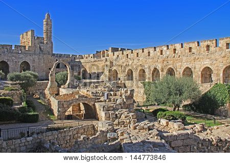 The Jerusalem Citadel or Tower of David, with the archaeological finds in its courtyard and the Ottoman minaret, as it appears today
