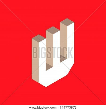3d isometric letter w. typography for headlines, posters etc.