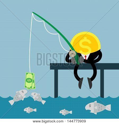 coin money businessman fishing. Using dollar bill to fish.
