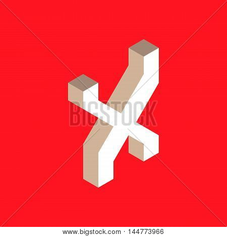 3d isometric letter x. typography for headlines, posters etc.