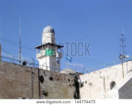 The Ghawanima Minaret in the old city of Jerusalem Israel