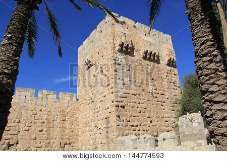 Outside wall of The Tower of David or the Jerusalem Citadel - Israel