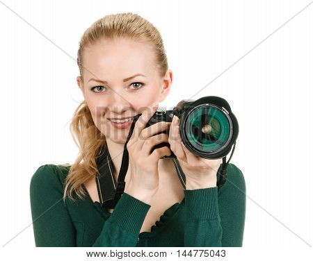 young woman photographer with camera, white background