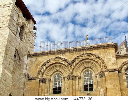 Windows of the pediment of Church of the Holy Sepulcher in Jerusalem Israel