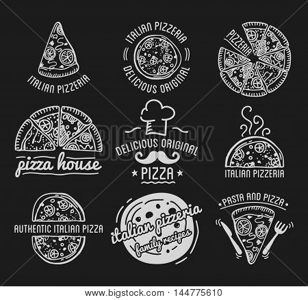 Pizza Label Design Typographic Set. Pizza festival or pizzafest. Vintage food pizza logos templates for restaurant. Vector Illustration.