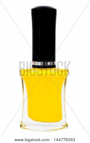 Yellow nail polish bottle on white background saved clipping path.