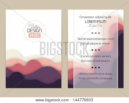 Cover design with curved shapes as a wave or hill. Brochure flyer invitation or certificate. Material design. Size a4. Vector illustration eps10.