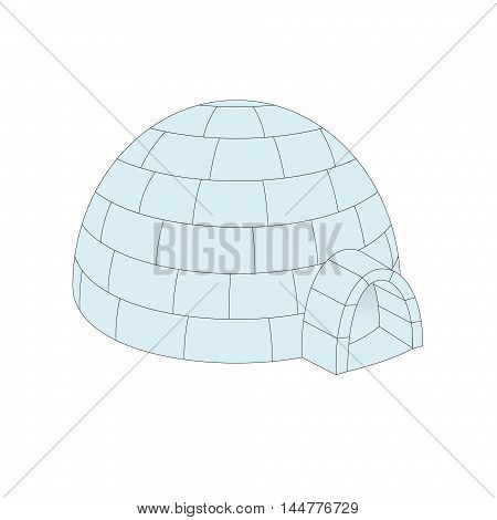 Igloo in light blue design on white background