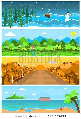 Set of nature backgrounds and landscapes with different seasons. Spring, summer, autumn, winter design. Banners with forest, road with sea. Beautiful vector illustrations.
