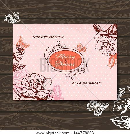 Wedding invitation card. Vintage illustration with hand drawn roses and butterfly