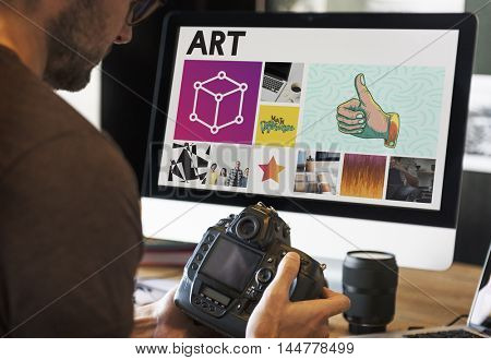 Man Camera Focus Working Box Concept