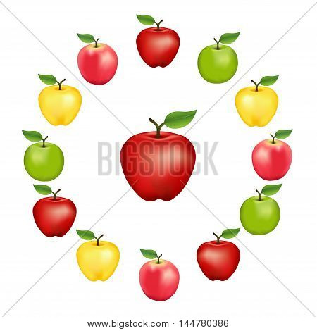 Apples in a wheel, Granny Smith, Red Delicious, Golden Delicious and Pink Varieties, fresh, natural, ripe, orchard garden fruit in a circle, isolated on a white background.