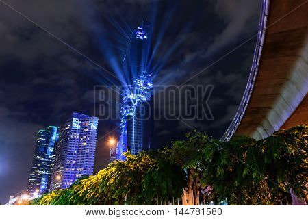 Bangkok,Thailand - August 29 , 2016 :  Lighting show in Grand openning Mahanakhon tower in night time. New highest building landmark in Thailand