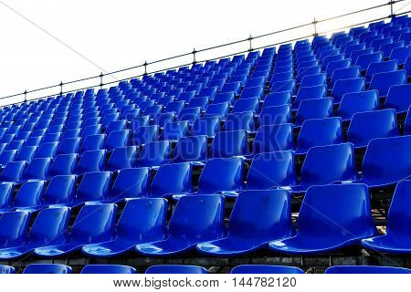 rows of blue seats Temporary stadium in Thailand
