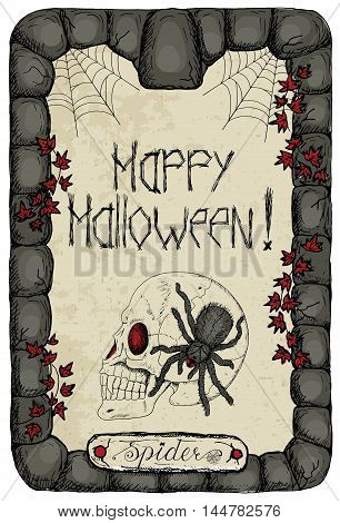 Halloween vintage card with human skull, ivy, corner cobweb and scary spider in stone frame vertical. Doodle line art illustration and hand drawn graphic sketch, mystic concept