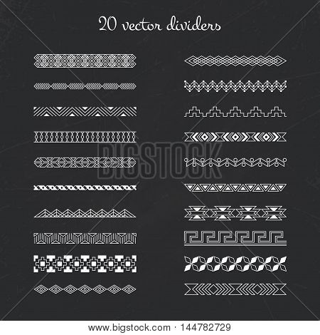 Set of vector decorative borders. Pattern dividers collection. Ornamental line borders. Sophisticated elegant decor in retro style. Vintage frame illustration