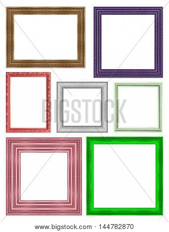frame picture frame wooden Carved pattern isolated on a white background frame for the design background.
