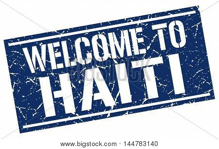 welcome to Haiti. stamp. grunge square sign