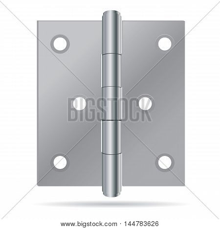 Hinges Design. Stainless steel hinges on white background.