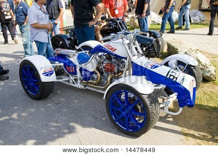 FAAKER SEE, AUSTRIA - SEPTEMBER 5: A V-Twin powered quad is shown at European Bike Week September 5, 2008 in Faaker See, Austria. This is reportedly the largest motorcycle event in Europe.