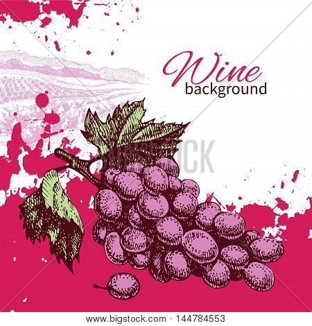 Wine vintage background. Hand drawn vector illustration