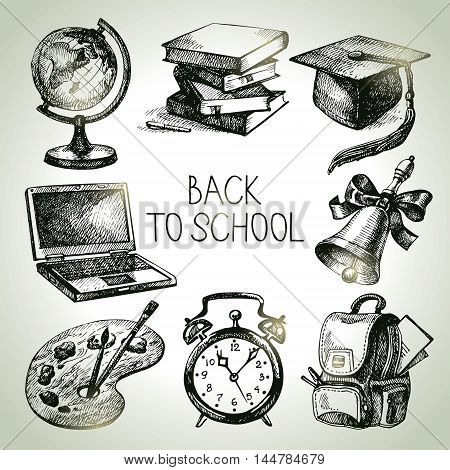 Hand drawn vector school object set. Back to school illustrations