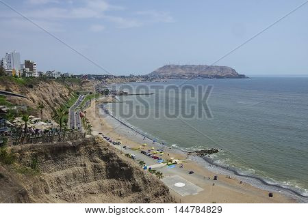 Beautiful view of Lima coastline from Larcomar in Miraflores district Lima Peru