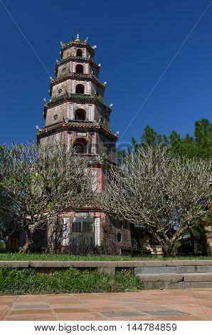 Hue, Vietnam-5 january, 2015: Thien Mu Pagoda. Unesco World Heritage Site.