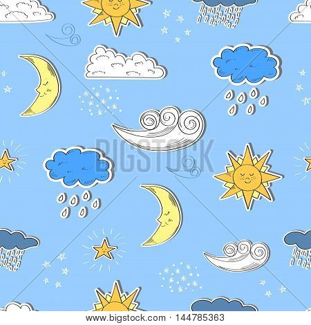 Weather seamless pattern. Cartoon sun, moon, star, clouds. Sketch vector background with weather icons.