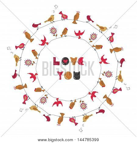 Love you birdies round frame. Vector romantic illustration with cute birds in red and golden colors. Can be uses for birthday card, wedding or party invitation.