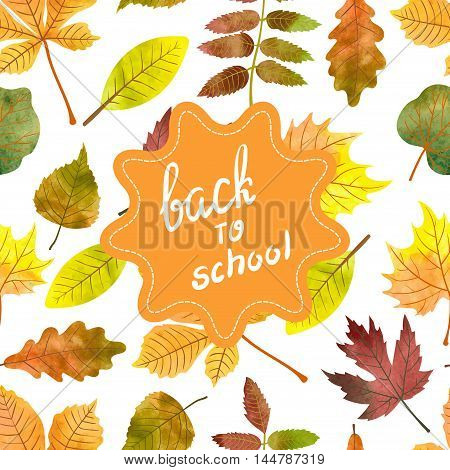 Back to school vector background. Seamless autumn pattern with watercolor leaves. Fall wallpaper.