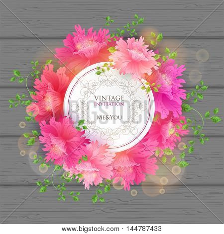 Blooming Flowers Postcard with vintage invitation tag and florish border frame