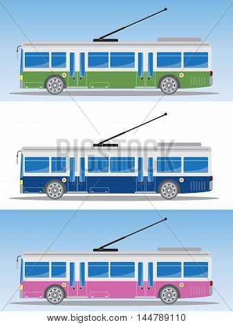 Side View Of Eletric Bus Or Trolley Bus