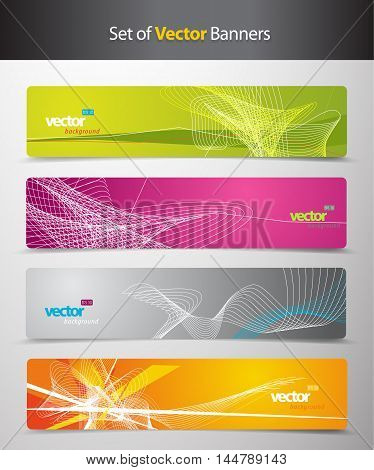 Set of abstract colorful headers with lines and place for your text.