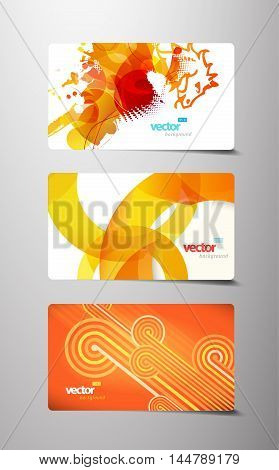 Set of abstract colorful gift cards. Vector art