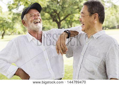 Bros Buddies Elderly Retirement Rest Talking Concept